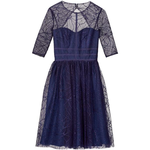 Rental ML Monique Lhuillier Navy Lines Dress ($85) ❤ liked on Polyvore featuring dresses, blue, sweetheart dress, lace sweetheart dress, full skirt, blue sleeve dress and blue sweetheart dress