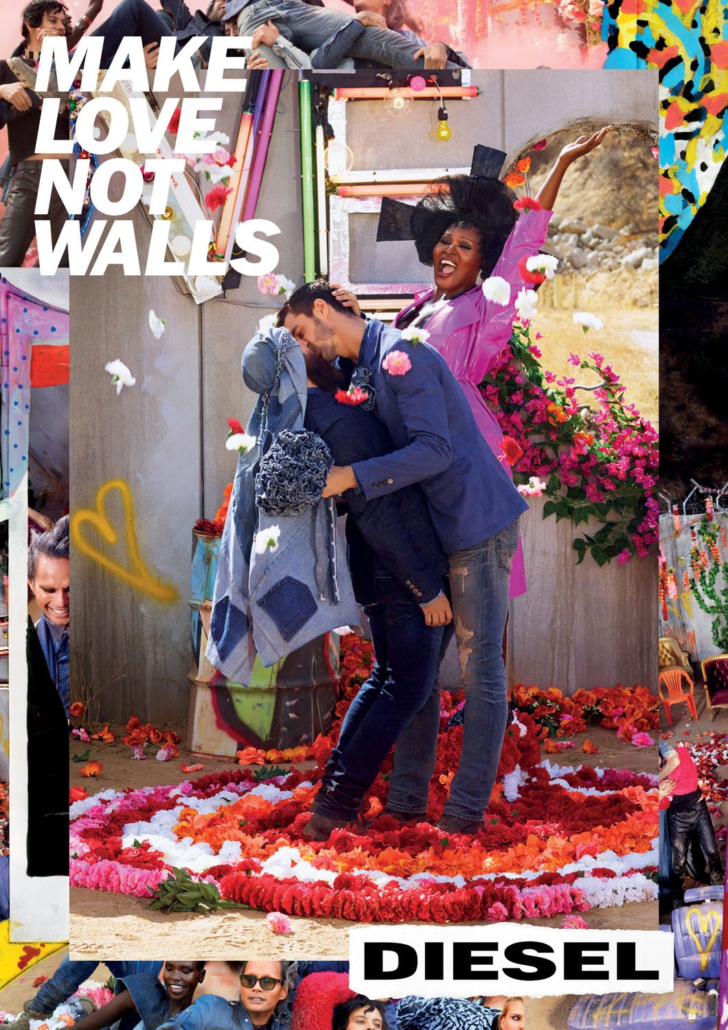 334161201 Diesel and David LaChapelle Offer Joyous Resistance With the Flamboyant  'Make Love Not Walls' Campaign – Adweek