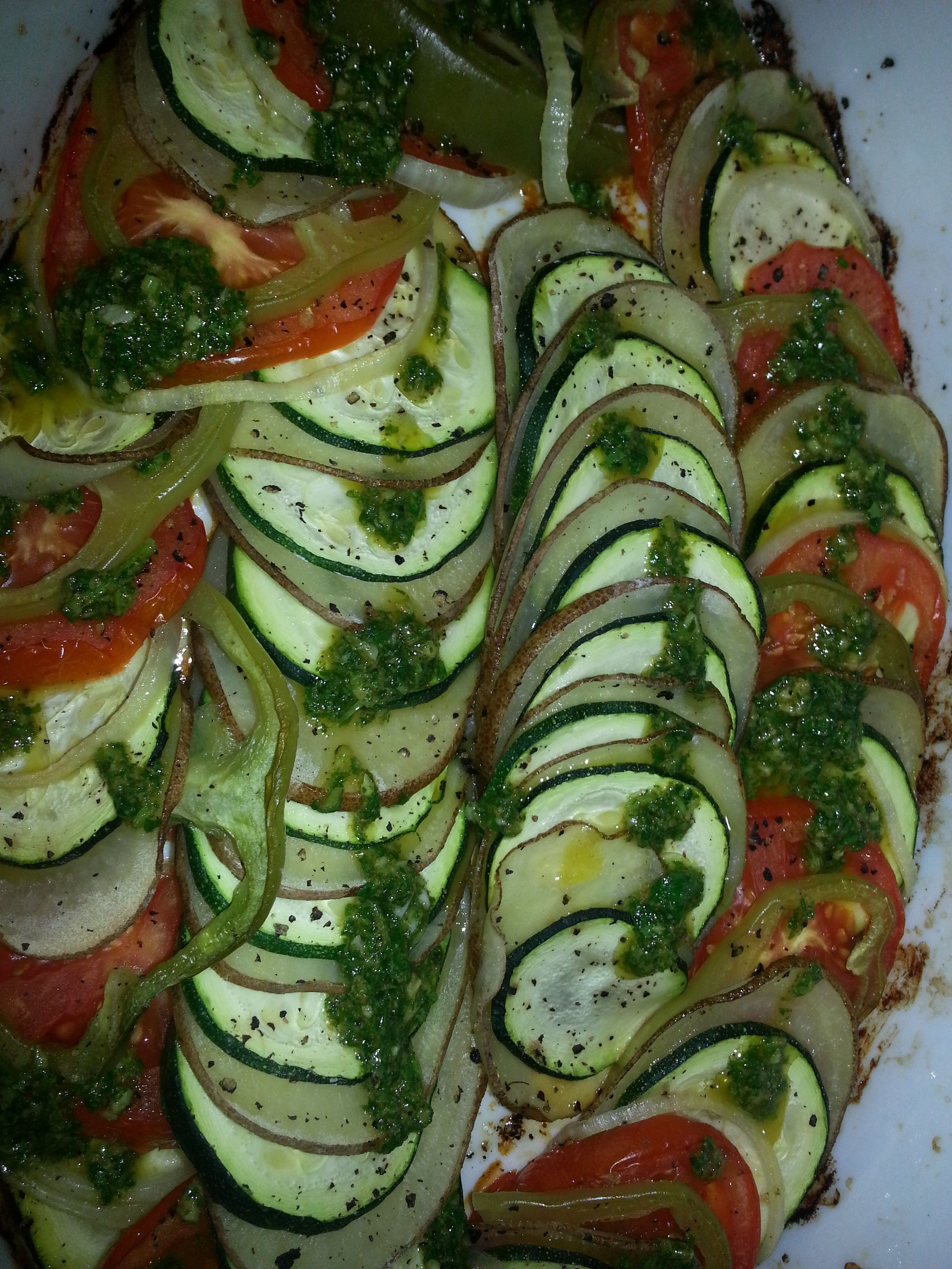 Vegetable tian, cilantro sauce
