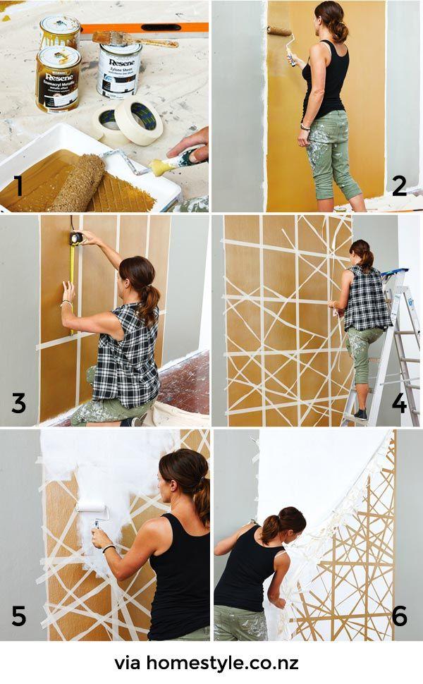 Un falso cabecero pintado en la pared a painted - Ideas para decorar una casa pequena ...