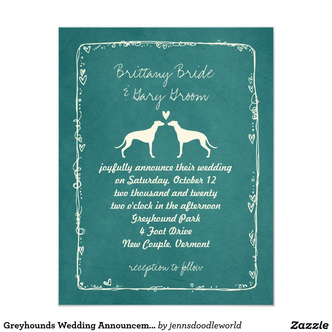 Greyhounds wedding announcement invitations wedding greyhounds wedding announcement monicamarmolfo Image collections