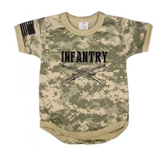 Funny saying baby tee shirt infant one piece body suit army brat digital camo