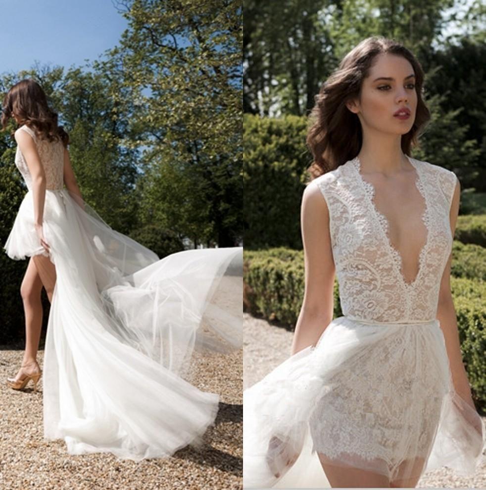 Berta bridal v neck lace wedding dresses high low beach wedding