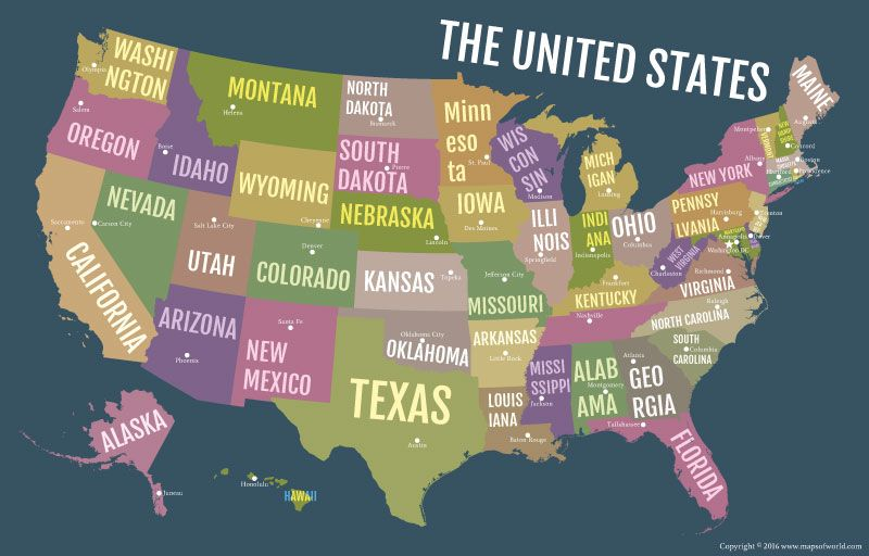 Usa Bold State Names Poster Map Map Poster Us Map States