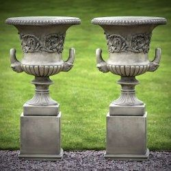 Good Pair Of Large Grecian Urns With Plinths. Set Of Two Large Grecian Style Garden  Urns