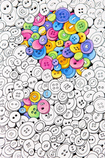 Buttons Adult Coloring Pages By Coloring Notebook Paper Journal