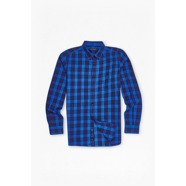 French Connection Window Check Shirt ($20) ❤ liked on Polyvore featuring men's fashion, men's clothing, men's shirts, men's casual shirts, mens oversized shirt, mens collared shirts, mens regular fit shirts and french connection mens shirts