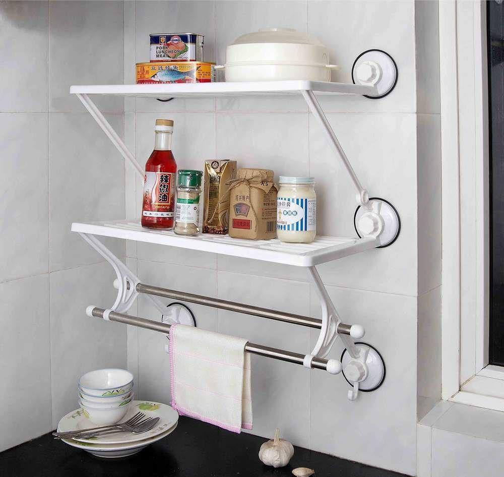 Two layer Double Rod Home Kitchen Bath Wall Storage Rack Shelf With ...