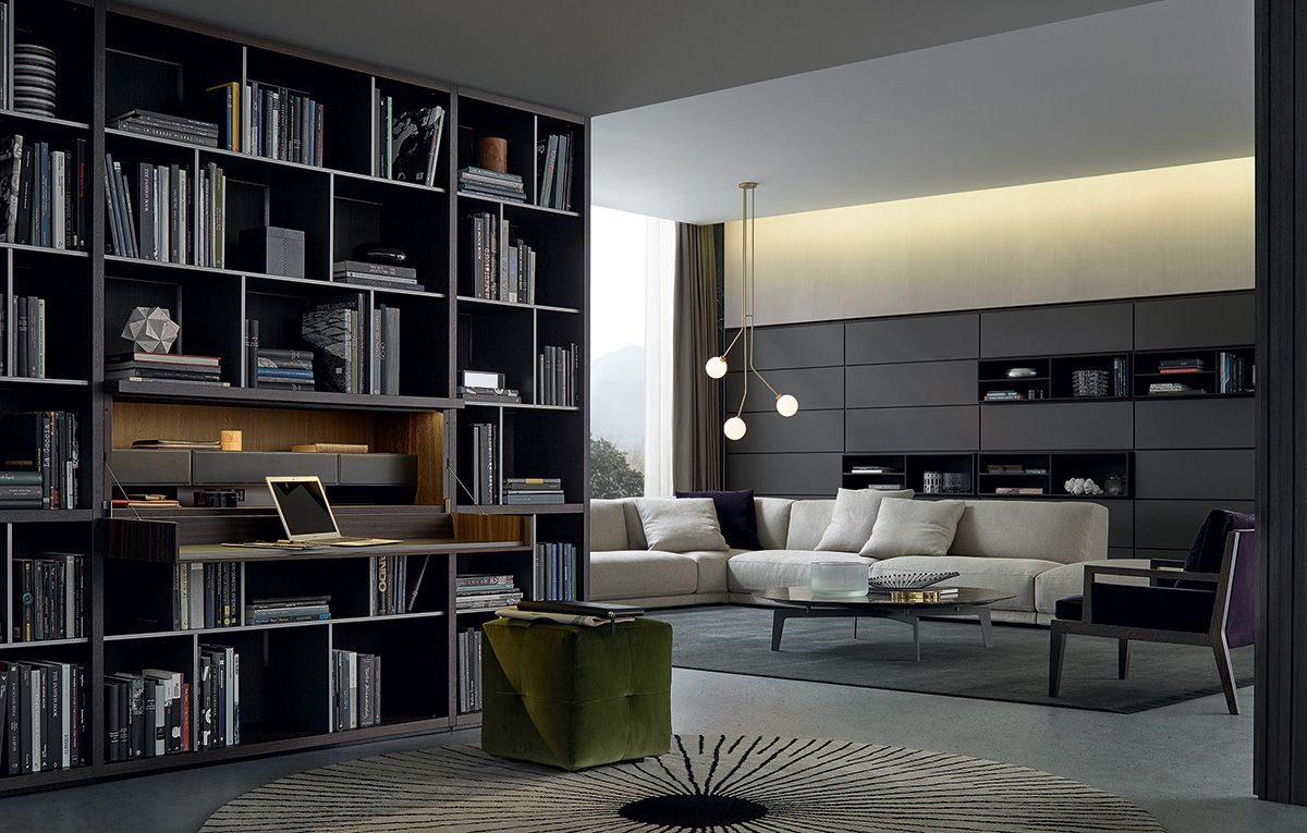 Poliform|Varenna _ Wall System Bookshelf and Onda pouf. | Details ...