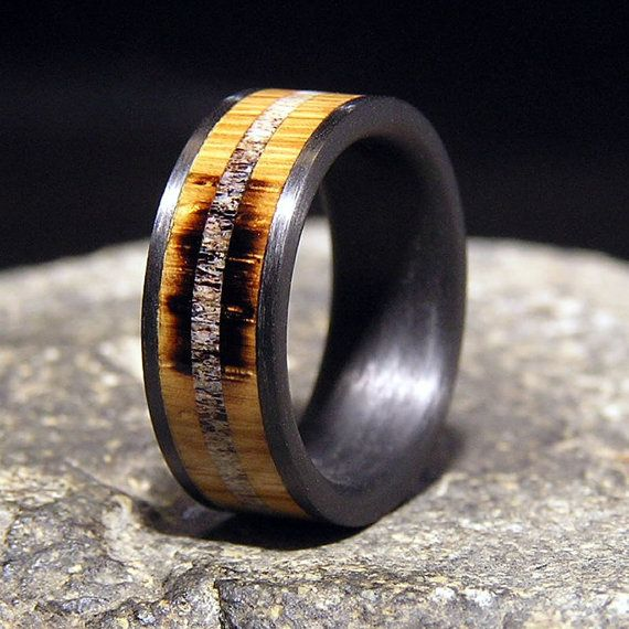 Jack Daniel/'s Tennessee Whiskey Wood rings with stainless steel bands.