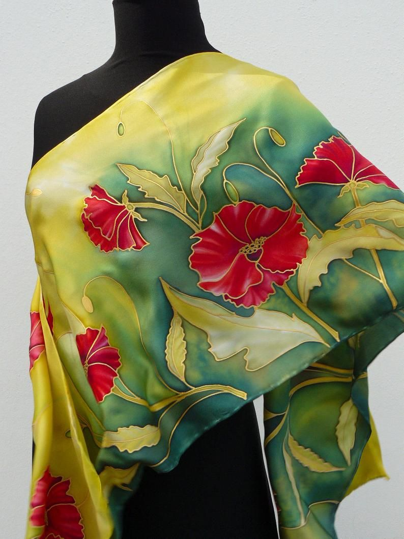 b24a340a8c2 Poppies silk scarf Handpainted red flowers red green gold silk scarf ...