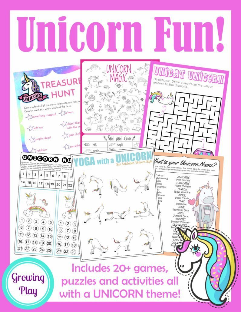 Unicorn Birthday Games, Activities and Puzzle Packet