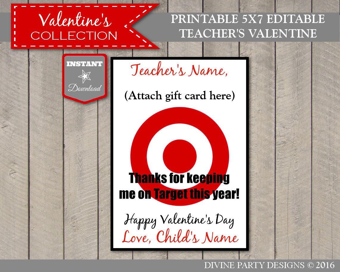 Sale Instant Download Editable 5x7 Target Teacher Valentine Insert