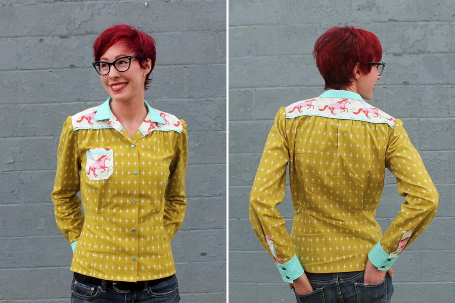 Shirt made from @cottonandsteel fabric - luckylucille.com