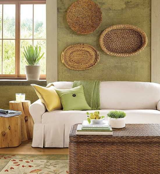 17 Ethnic Living Room Designs Ideas: Modern Wall Decoration With Ethnic Wicker Plates,
