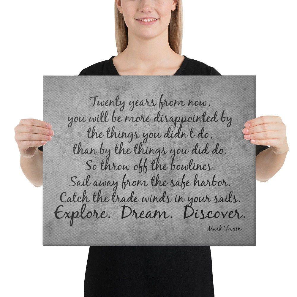Explore Dream Discover (B&W) - Mark Twain Quote - Inspirational Quote - Motivational Quote - Inspirational Wall Art - Motivational Wall Art