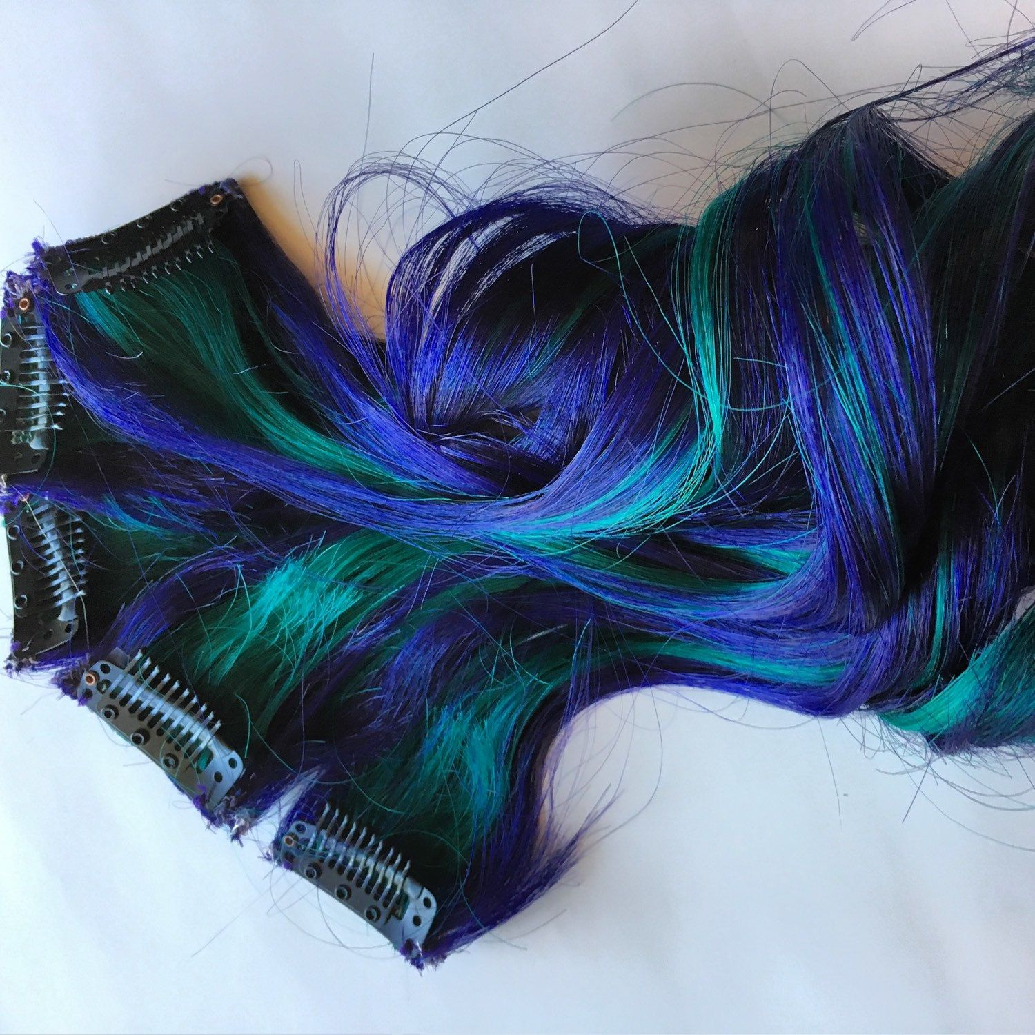 Ombre Human Hair Extensions Streaks Purple And Teal Green Blue Dip