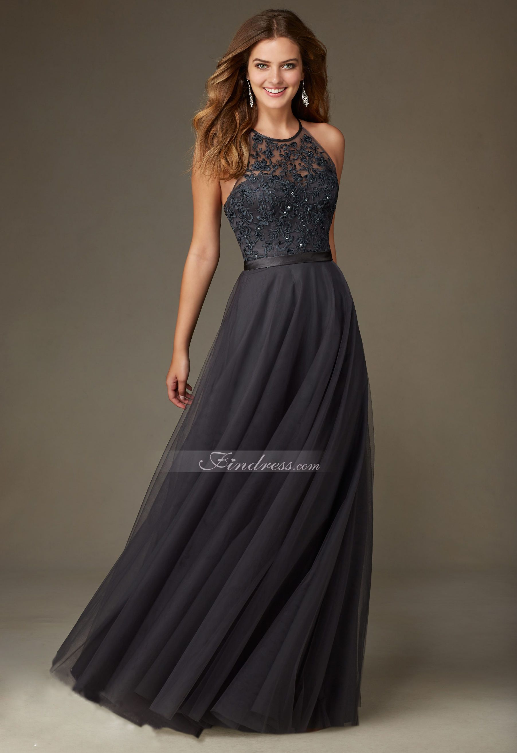 Long Tulle Bridesmaid Dress with Embroidery and Beading with Satin ...
