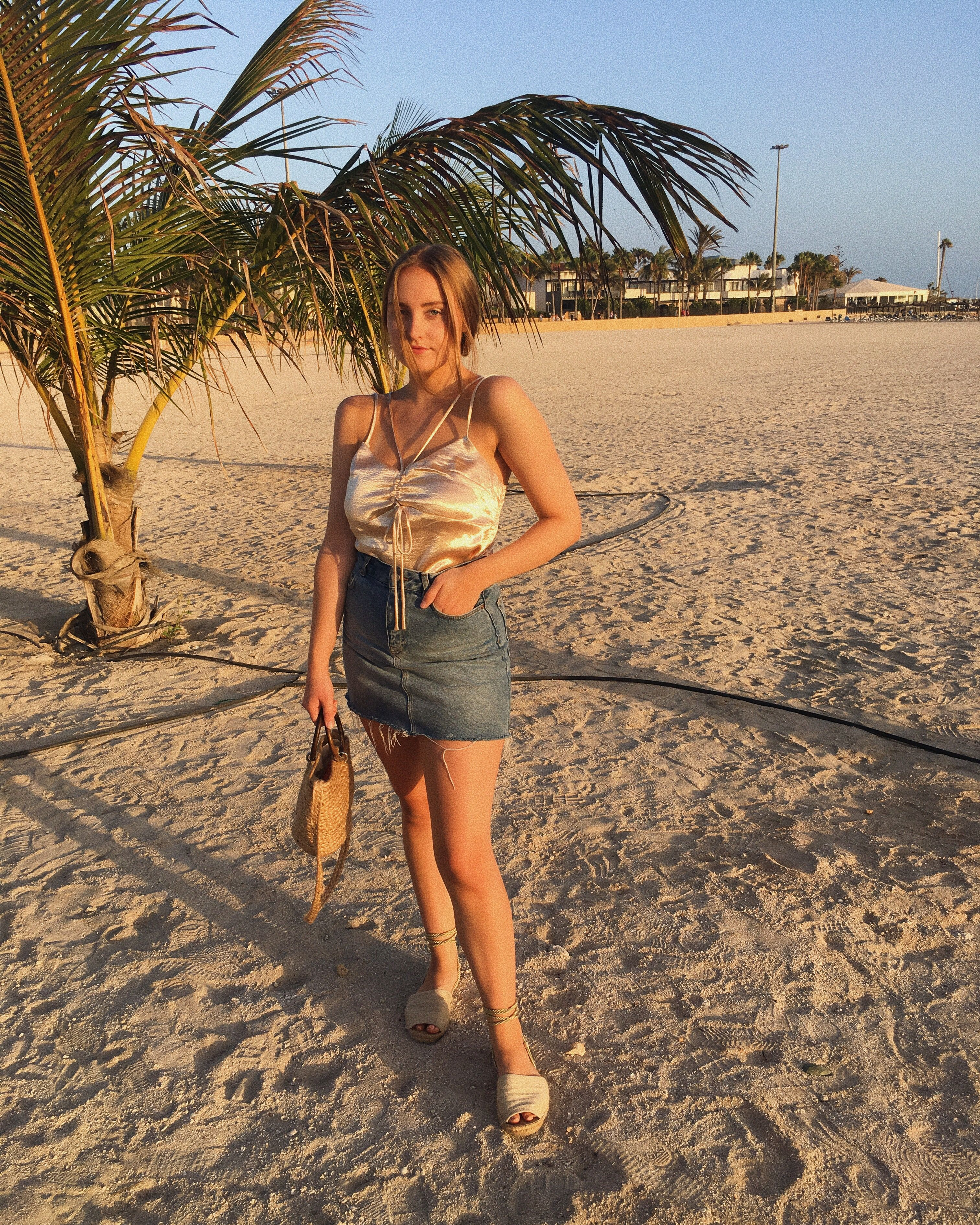 b24a476d34 Wearing gold and feeling glowy in the Spanish golden hour on the beach.  Top- Nasty Gal (bought through Depop) Denim Skirt- Pull & Bear (old)  Espadrilles- ...