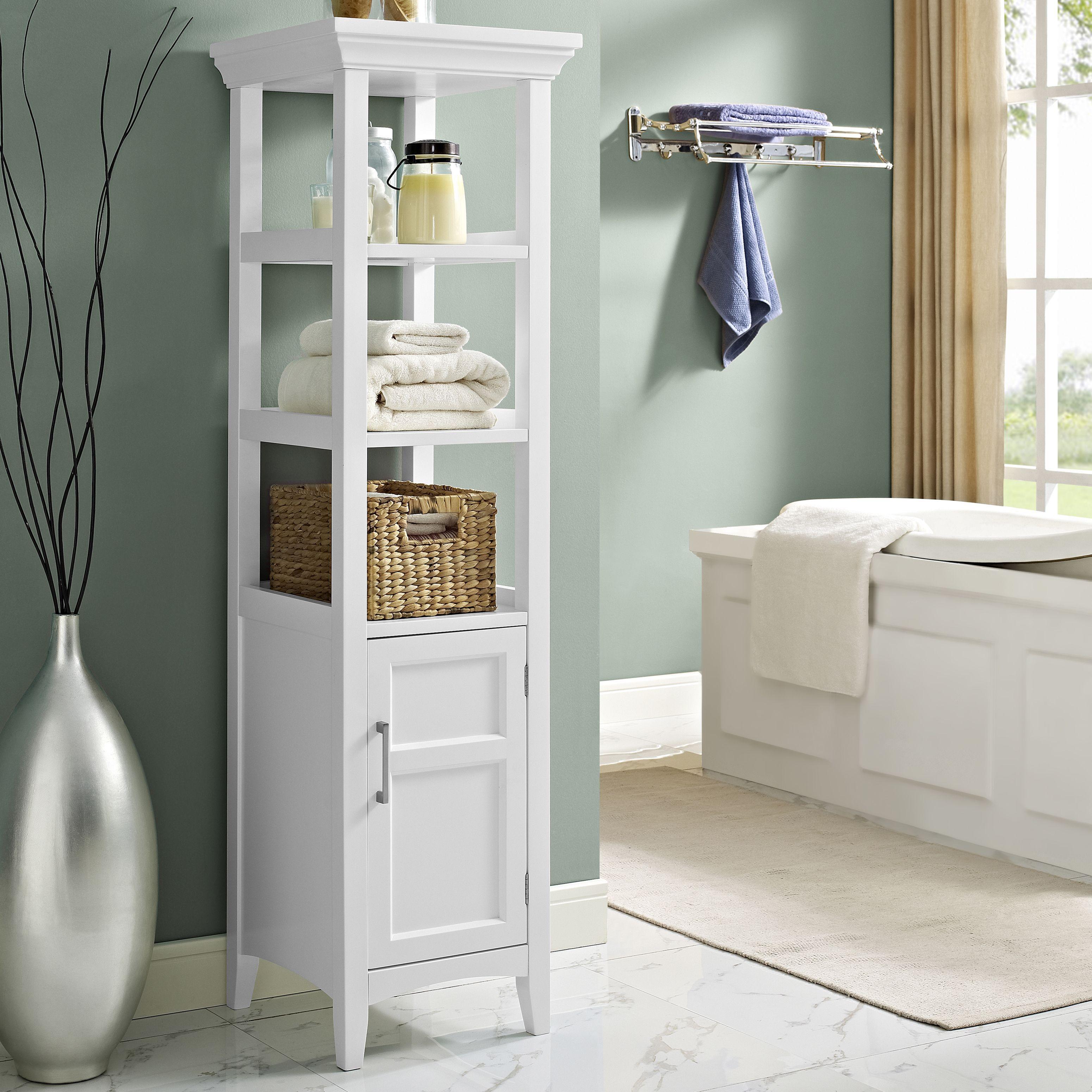 WYNDENHALL Hayes Bath Storage Tower in White | Open shelves, Tower ...