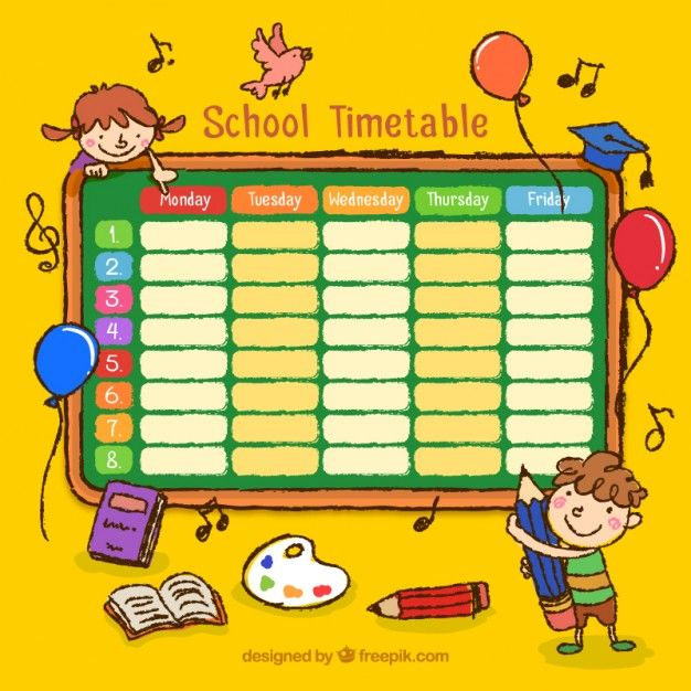 Hand drawn school timetable with drawings free vector resume template class also best images chart design graph rh pinterest