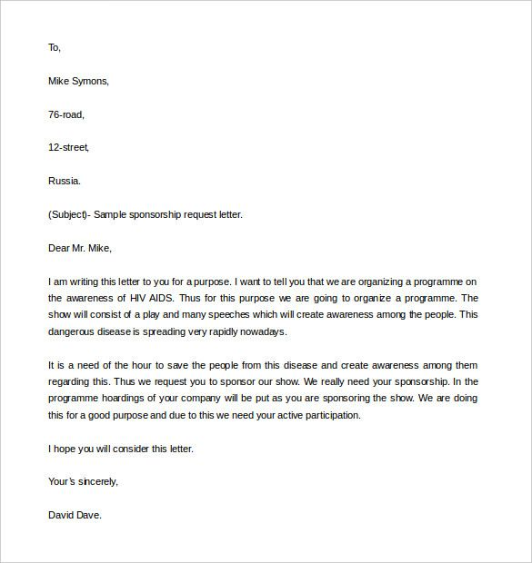 Letter Asking For Sponsorship Request Downloadg Sample Will Give