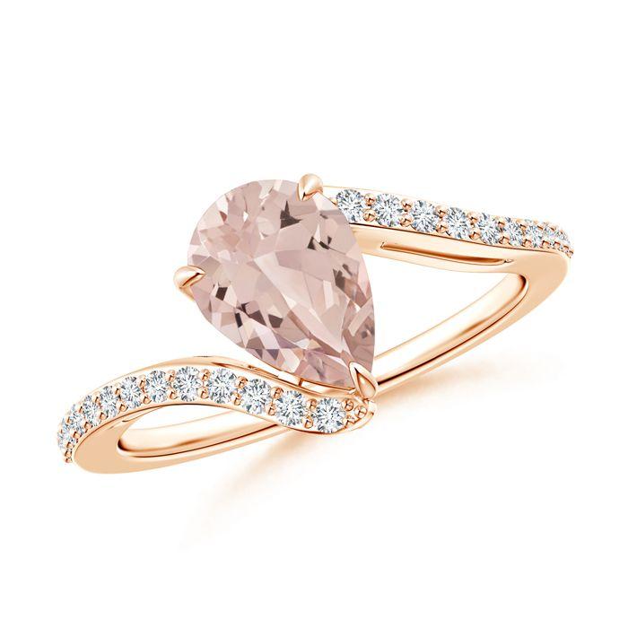 Angara Morganite Diamond Wedding Band Ring Set in White Gold WK4jDtiaS