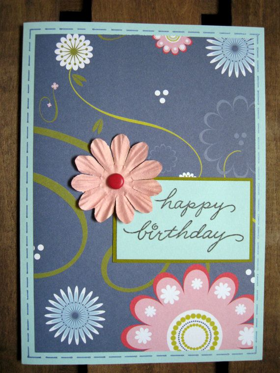 Handmade Card With Happy Birthday Message And Flower Embellishment Packaged In Cellophane Sleeve White Envelope Blank Inside For Your Own Personal