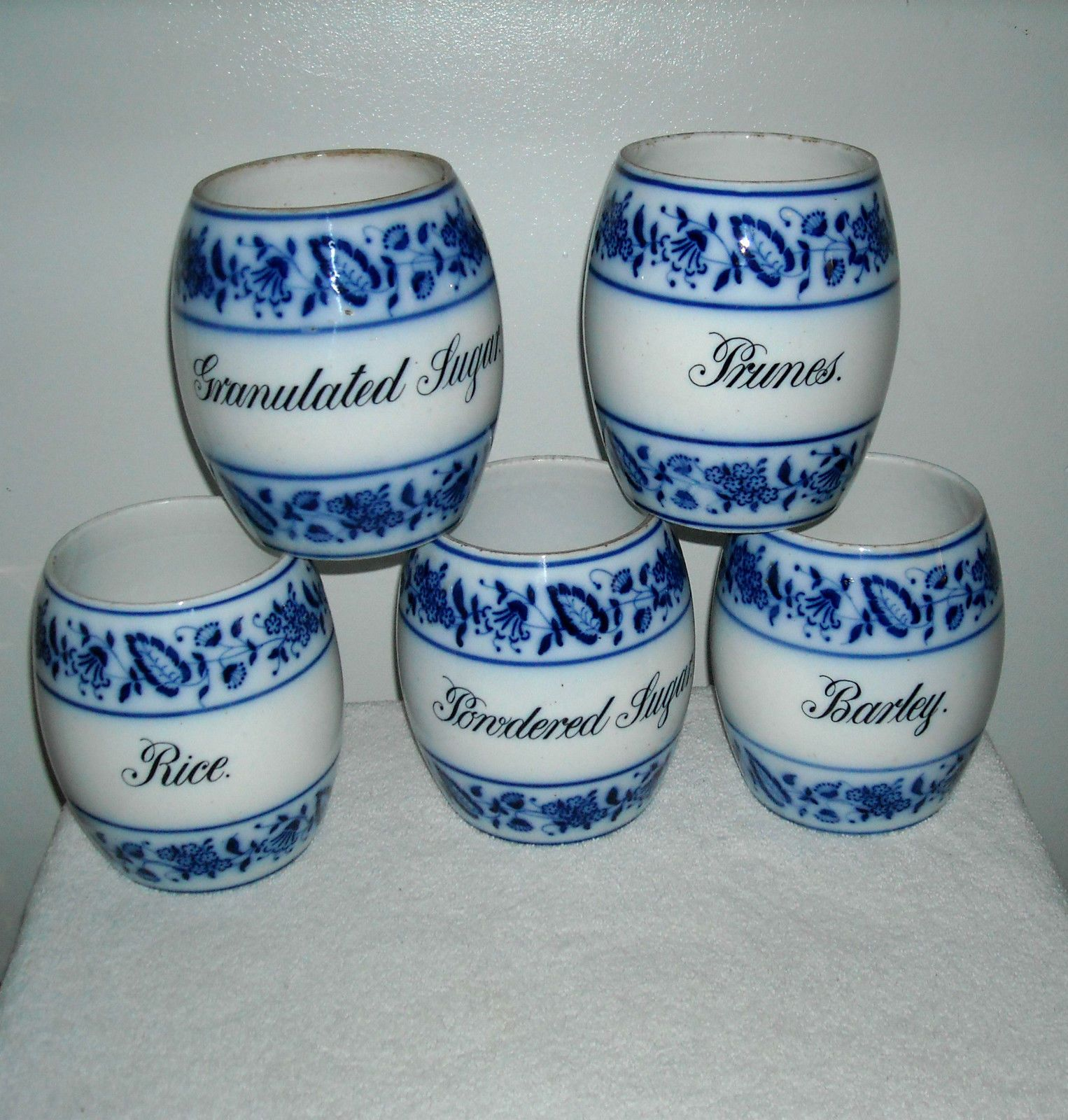 5 antique flow blue canister set blue onion germany | Only Blue ...