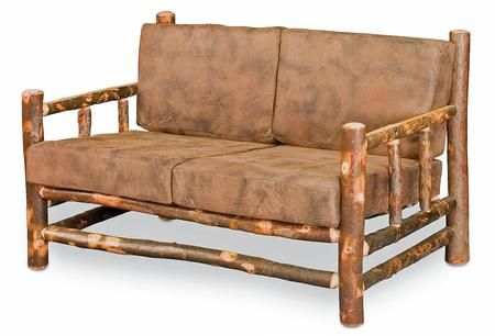 Gaige Collection 420 1345 56 Quot Lodge Loveseat With Cushions Track Arms Faux Leather Upholstery