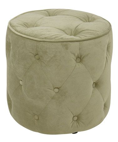 This Green Velvet Curves Tufted Round Ottoman is perfect ...