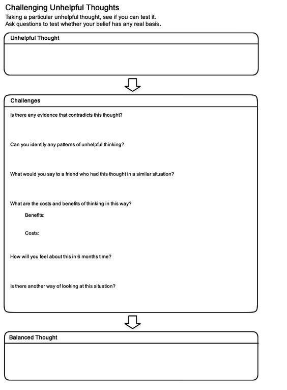 Moodjuice Challenging Thoughts Worksheet Self Help Guide