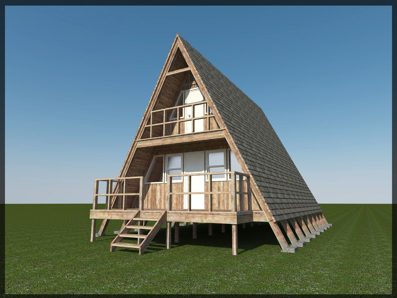 Build your own 24 x 21 a frame 2 story cabin diy plans