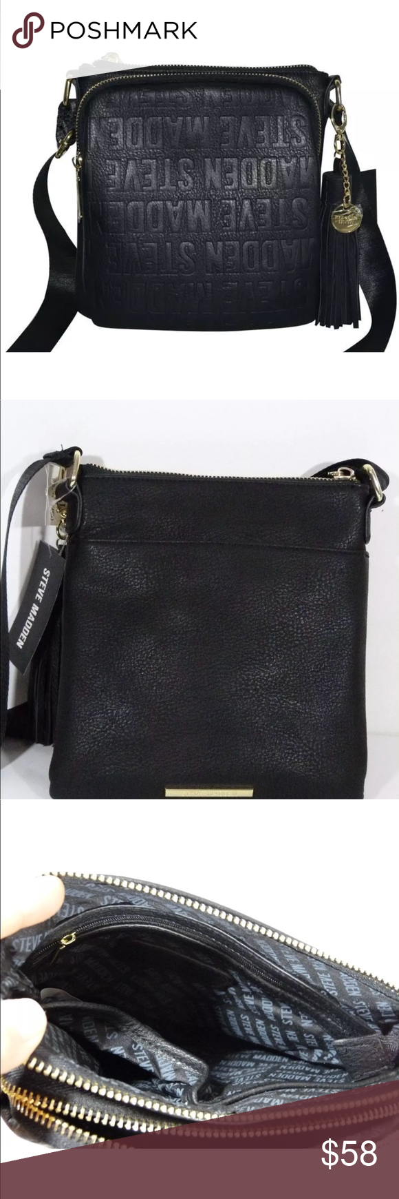 f0037caa90d Authentic Steve Madden BGLAM LOGO crossbody bag Steve Madden BGLAM LOGO  Black Crossbody Bag With detachable