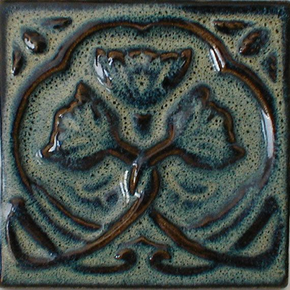 Decorative Wall Tile Art Art Nouveau Tile Blue Tile Accent Tile Artcampbelltileworks