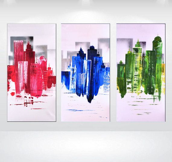 Abstract Acrylic Painting Skyline 3 Parts Colorful Contemporary Art Ready To Hang Up By Ettis Gallery Fast Shipping Sur Etsy 410 29 Cad