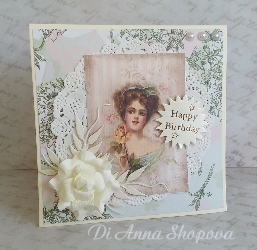 Luxury Handmade Birthday Card For Her Shabby Roses Chic Wife Mother