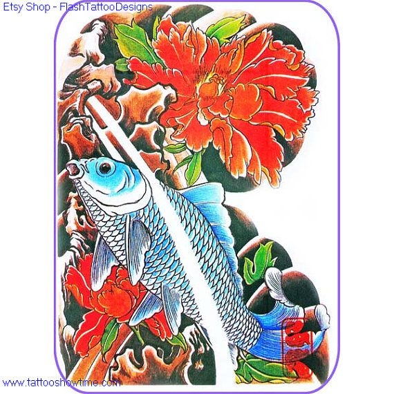 Koi Tattoo Flash Design 7 For You On Etsy. Top Quality
