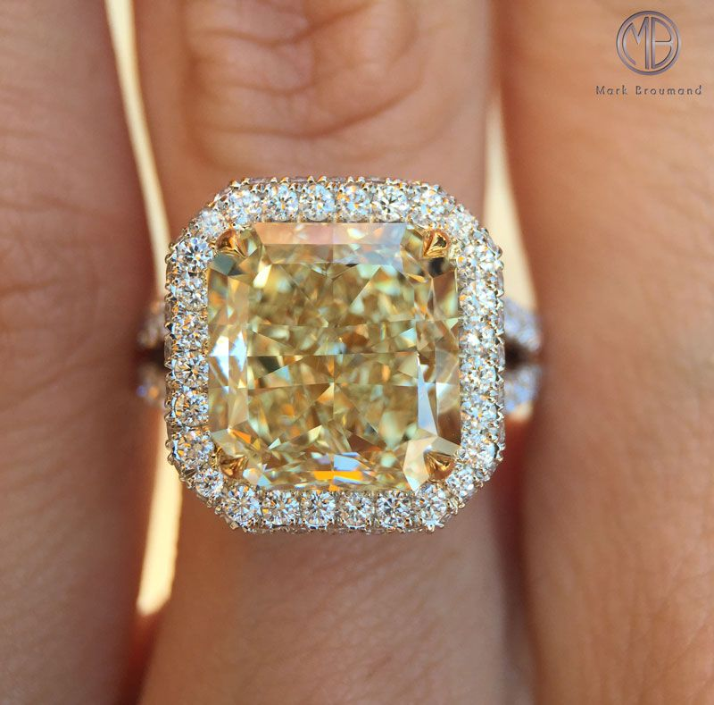 ring light rings engagement diamond vvs fancy certified cut canary yellow cushion