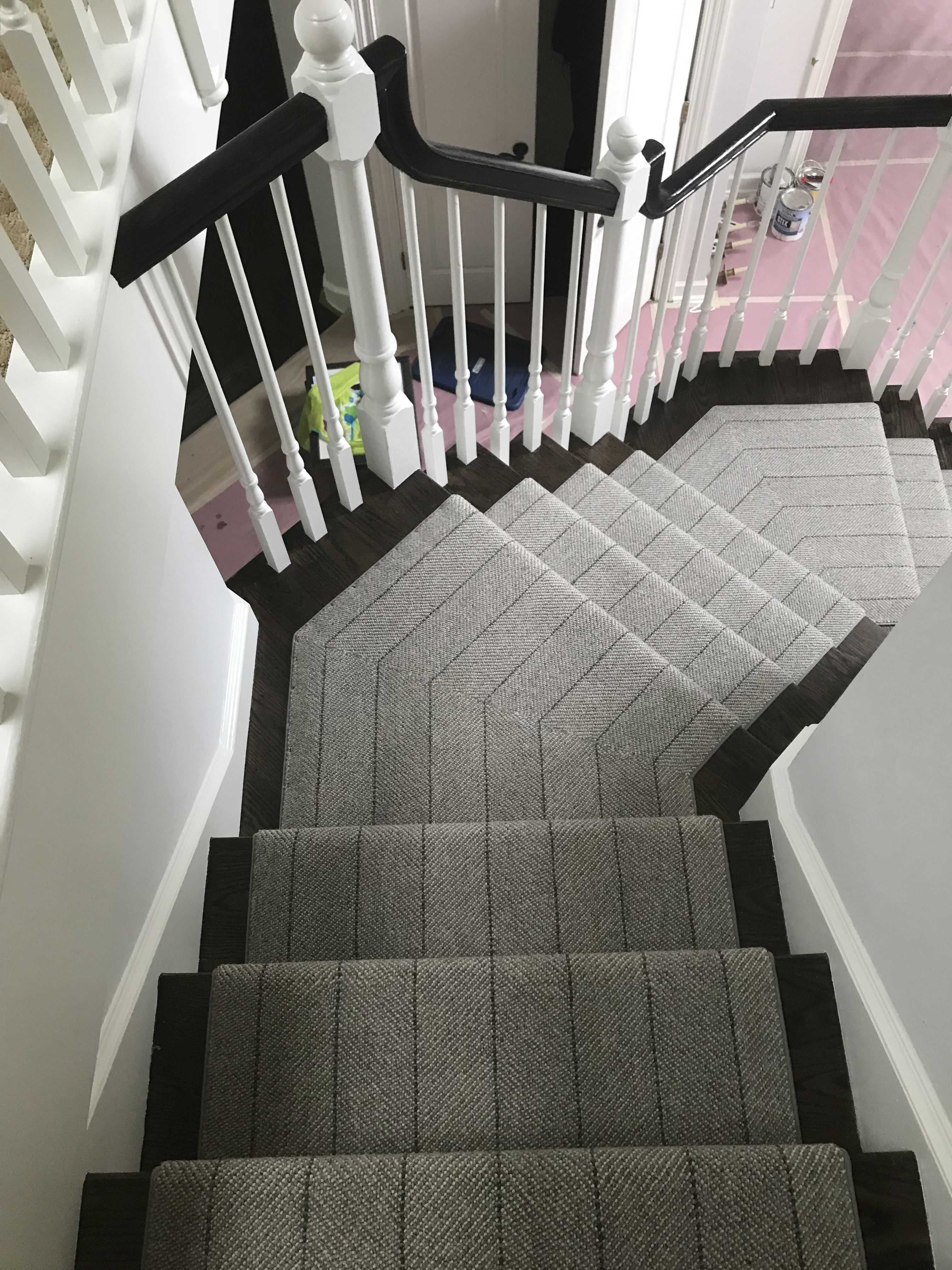 Grey Striped Stair Runner By Prestige Mills Grey Carpet Runner