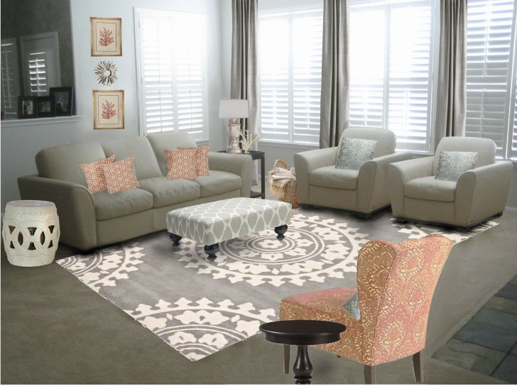 Living Room Cream Fabric Sofa With Cushions Also Gray White Table On The