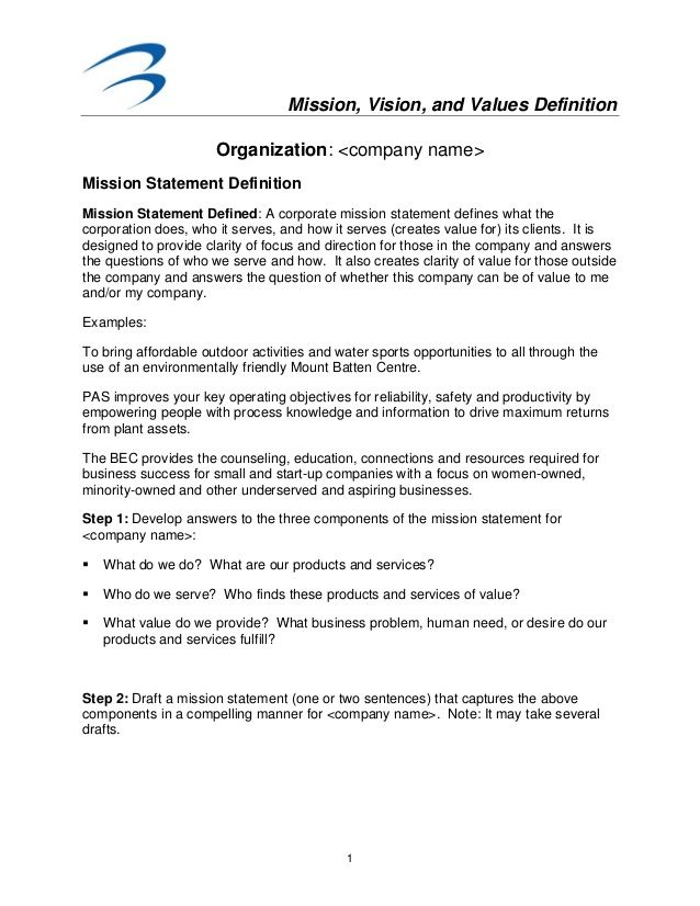 Mission Vision And Values Definition 1 Organization Company Name