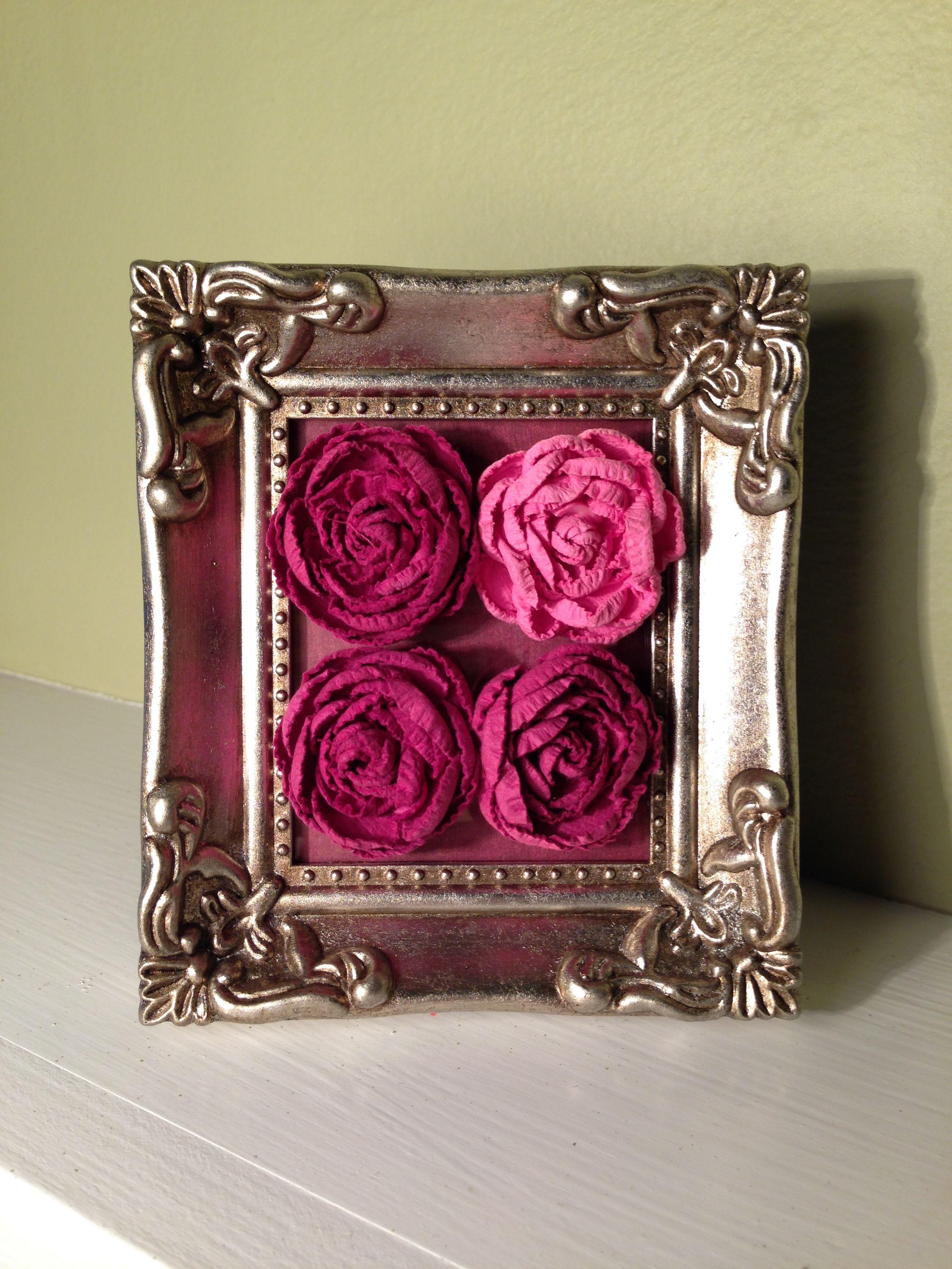 Paper roses in gold frame  The Telltale Home  Pinterest  Paper roses