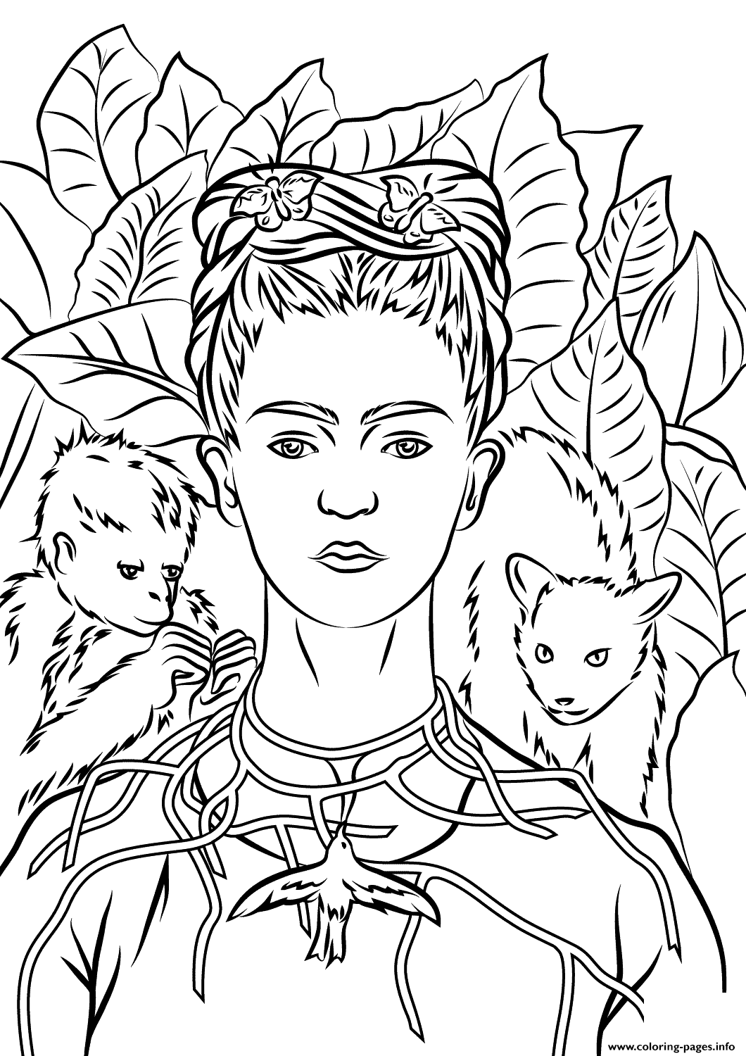 Print self portrait with necklace of thorns by frida kahlo coloring