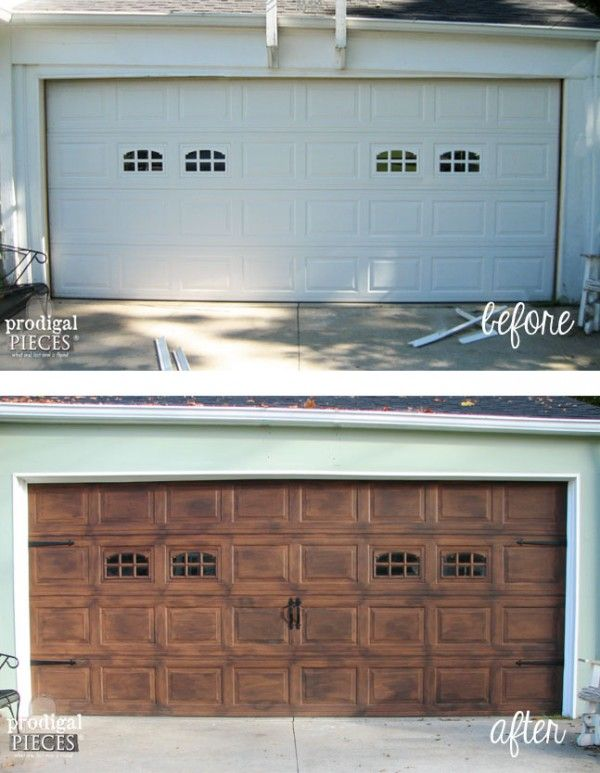 Before after garage this is a faux wood painted garage door spring is in the air and its time to add curb appeal to your home take your builder grade garage door and give it a diy faux wood carriage door makeover solutioingenieria Images