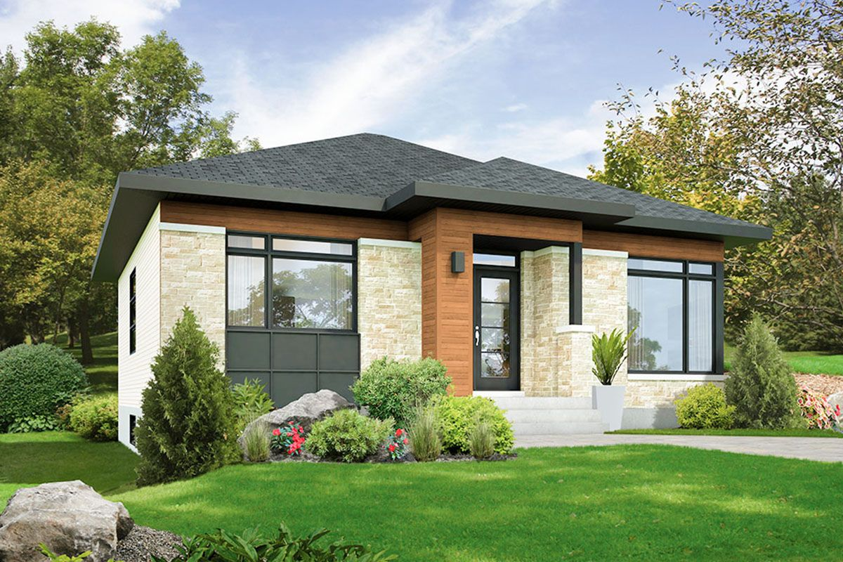 Plan 80925pm 2 Bed Modern House Plan On A Basement In 2021 Contemporary House Plans Bungalow House Design Modern House Plan