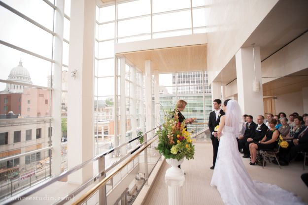 Overture Center For The Arts In Madison Wi Upper Lobby Wedding Ceremony Photo By M Three Studio