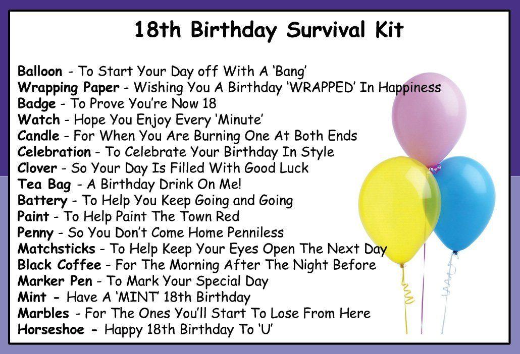 18th Birthday Survival Kit List Google Search Survival