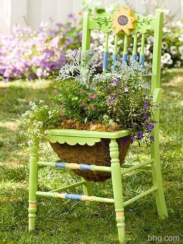 chair with planter