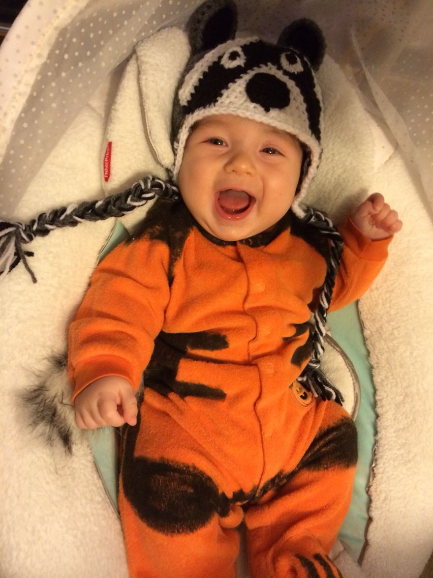 baby rocket raccoon halloween outfit. simple to make with an orange